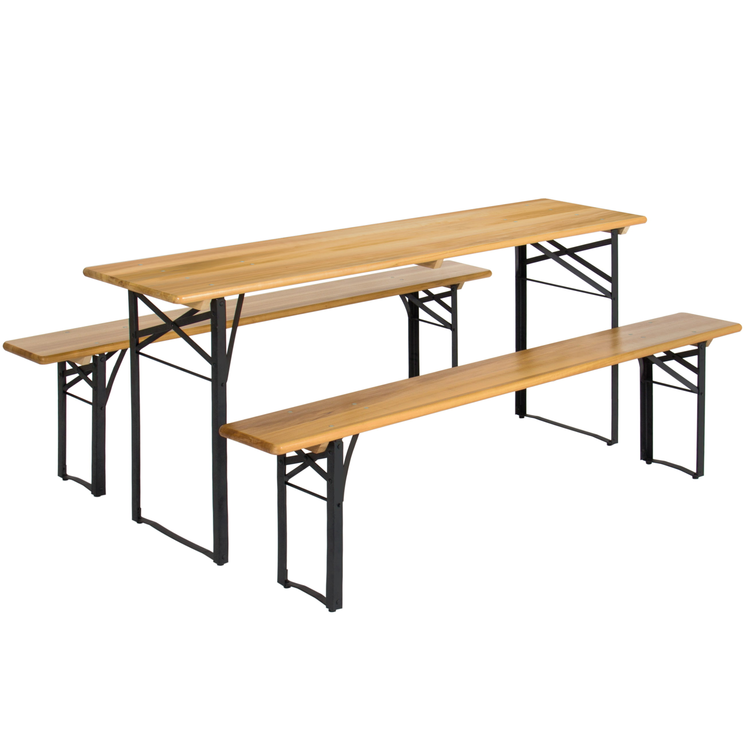 Best Choice Products Portable 3 Piece Folding Picnic Table Set W  Wooden Tabletop by