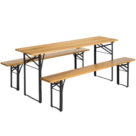 Picnic Table Set (Best Choice Products 3-Piece Portable Folding Picnic Table Set w/ Wooden Tabletop - Brown)