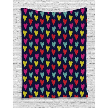 Valentines Day Decor (Home Decor Tapestry, Romantic Style Multicolored Hearts Love Happiness Theme Valentine Day Decor Image, Wall Hanging for Bedroom Living Room Dorm Decor, 60W X 80L Inches, Multi, by)