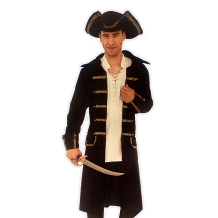 580e0d56e4375 Gentleman Pirate Costume Captain Black Coat N  Tricorn Hat Men Plus Size  Std-XXL ...