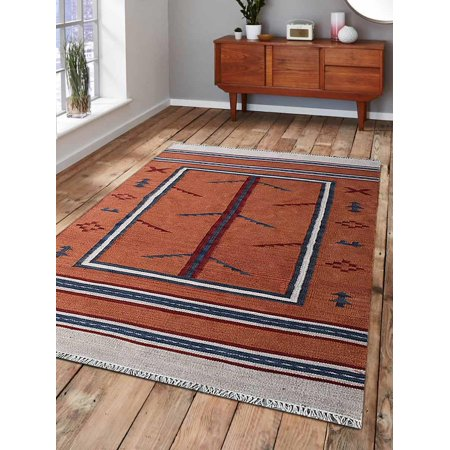Rugsotic Carpets Hand Woven Flat Weave Kilim Wool 6'x9' Area Rug Contemporary Orange Blue D00140 ()