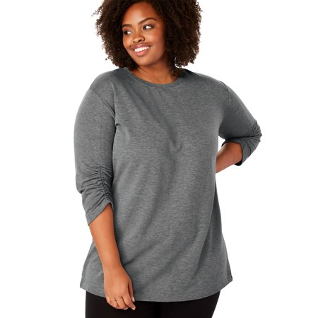 Woman Within Plus Size Shirred Sleeve Fleece Tunic Shirred Silk Tunic