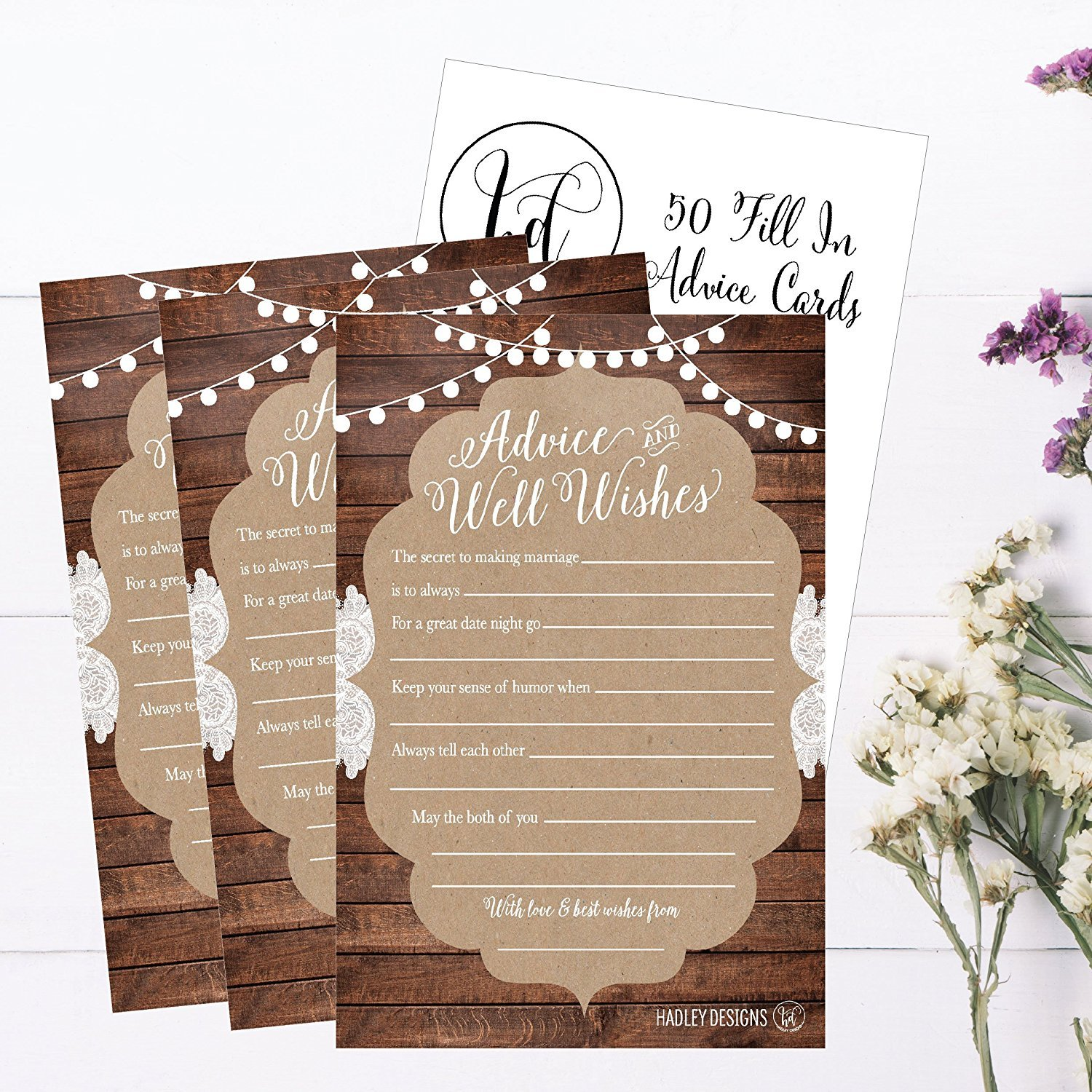 4x6 Advice for Wedding with Prompts Simple Elegant Marriage Best Wishes Advice and Wishes for The Bride and Groom Cards 50 Cards 321Done