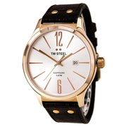 TW1304 Unisex Slim Line Silver Tone Dial Brown Leather Strap Rose Gold Steel Watch