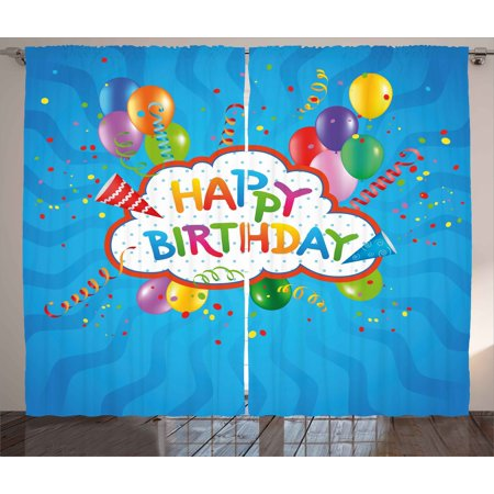 Birthday Curtains 2 Panels Set, Wavy Blue Colored Backdrop with Greeting Text Party Hats Confetti Best Wishes, Window Drapes for Living Room Bedroom, 108W X 108L Inches, Multicolor, by
