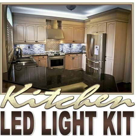 Biltek 2' ft Cool White Kitchen Valance Microwave LED Backlight Night Light On/Off Switch Control Kit - Under Counters Microwave Glass Cabinets Floor Waterproof Flexible DIY 110V-220V