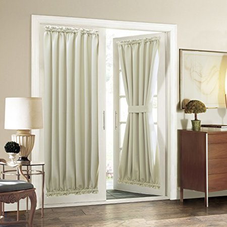 Rod Pocket French Door Curtain Aquazolax Blackout
