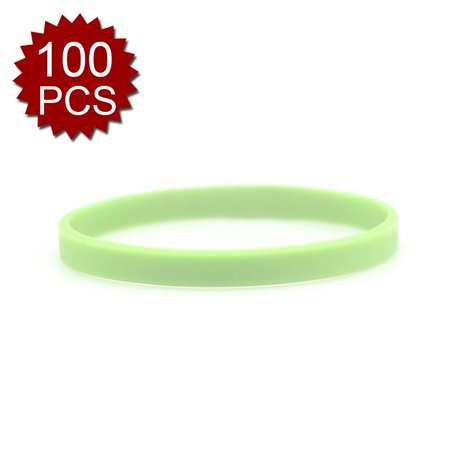 GOGO 100 Pcs Glow In The Dark Silicone Bracelets, Noctilucous Thin Rubber Wristbands for $<!---->