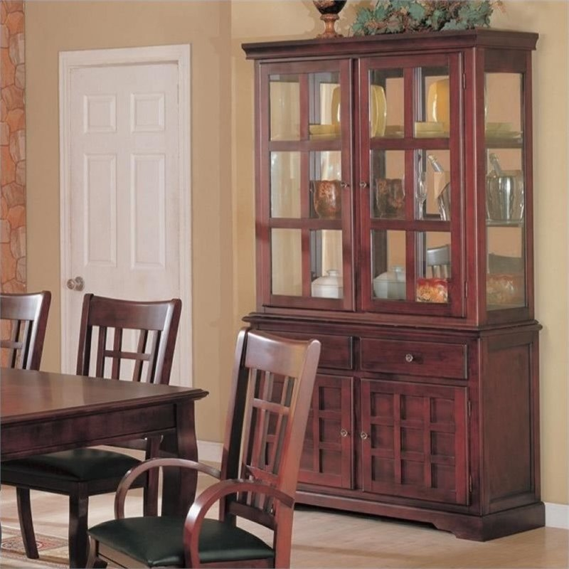 Bowery Hill Buffet and Hutch China Cabinet in Cherry by Bowery Hill