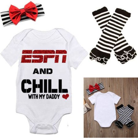 Baby Girls ESPN and Chill with My Daddy Bodysuit and Socks Outfit with Headband 3Pcs Set