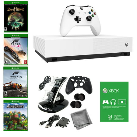 XB1 S 1TB All Digital Edition Console, with Forza Horizon 5 and 10 in 1 Accessory kit, also includes Download Codes Voucher for Forza Horizon 3, Sea of Thieves and Minecraft (Digital Console)