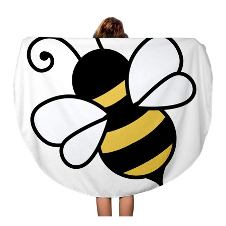 SIDONKU 60 inch Round Beach Towel Blanket Yellow Bumble Cute Little Bee Bumblebee Honey Busy Buzz Travel Circle Circular Towels Mat Tapestry Beach Throw Buzz Lightyear Towel