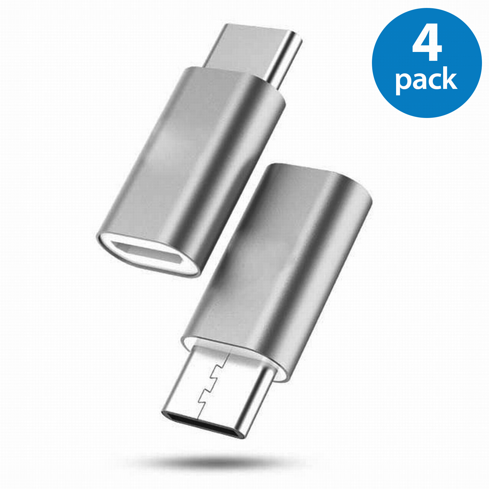 4x Afflux USB-C Adapter Connector USB Type C Male to Micro USB Female Adapter Charge Sync Converter For Samsung Galaxy S8 S8 + Note 8 Nexus 5X 6P LG G5 G6 V20 HTC 10 Google Pixel XL OnePlus 3 5 Gray