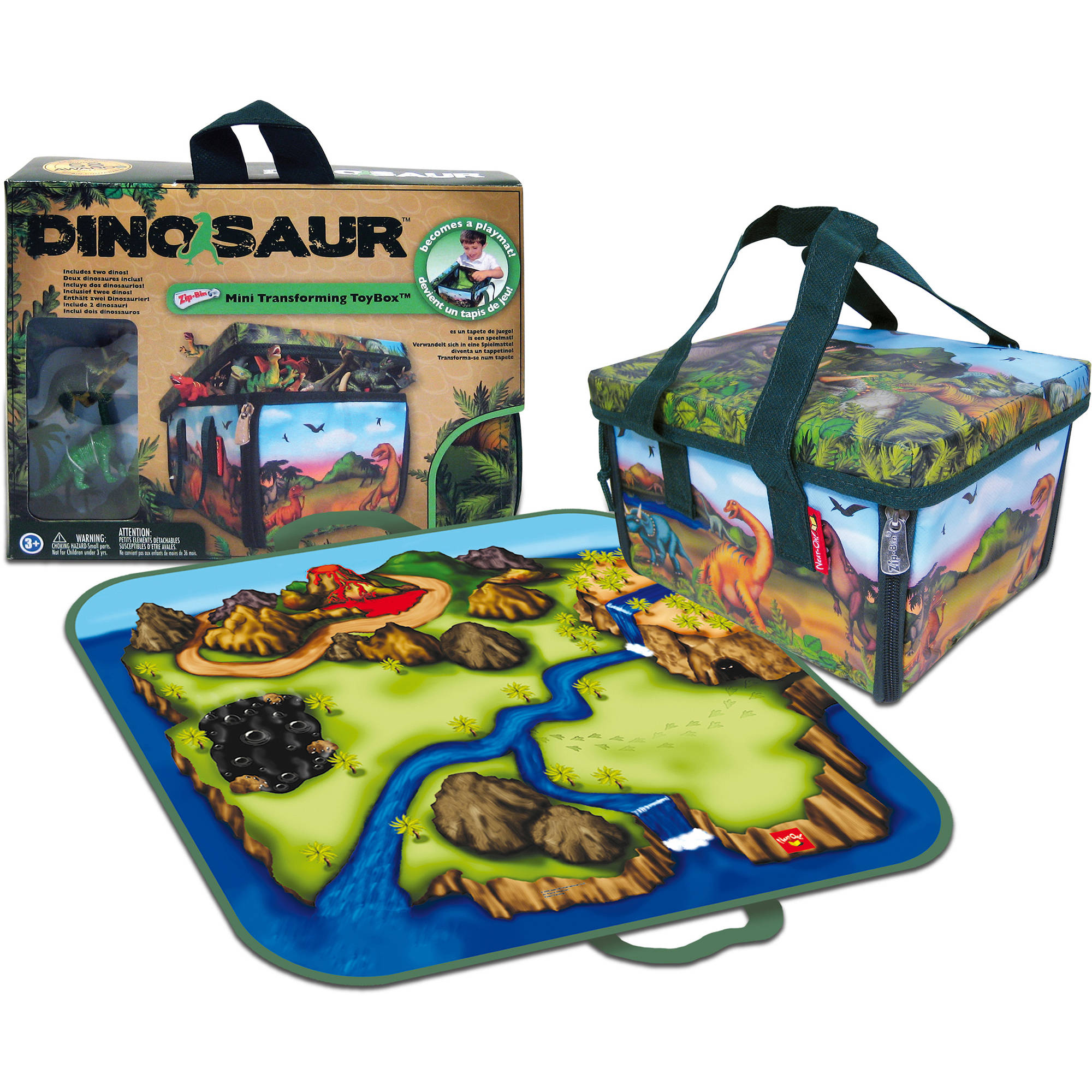 Dinosaurs Mdf Toy Box Childrens Storage Toys Games Books: Neat-Oh! ZipBin Dinosaur Mini Playset