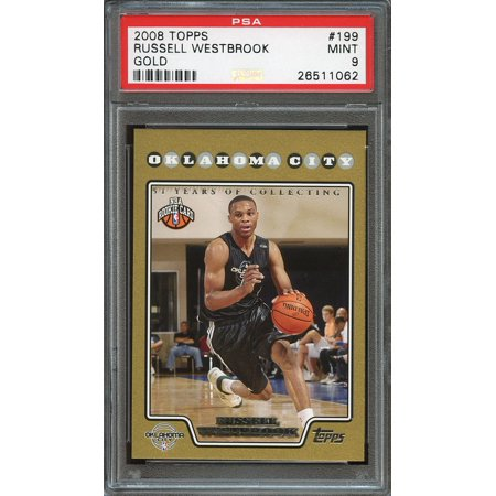 2008 09 Topps Gold  199 Russell Westbrook Okc Thunder Rookie Card Psa 9