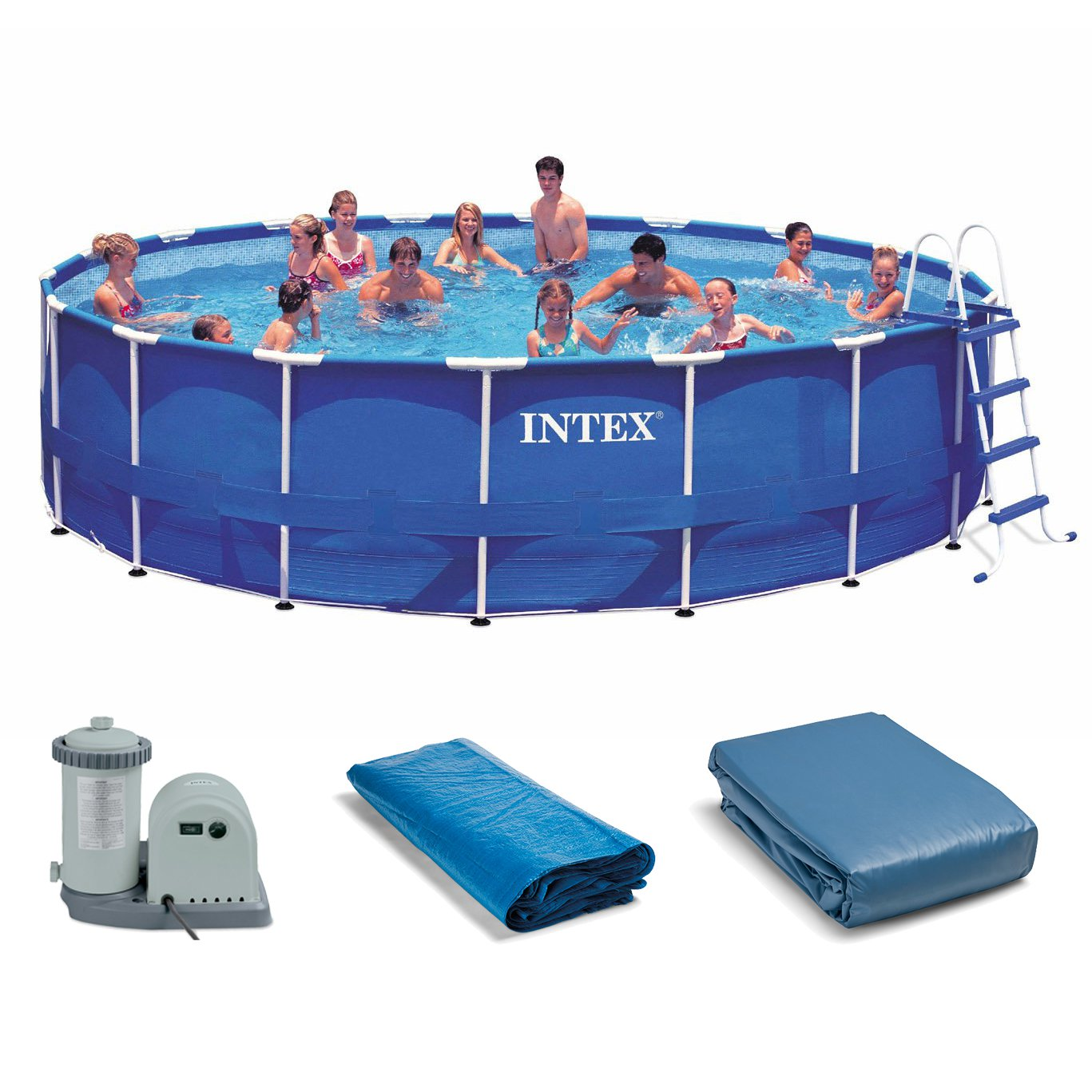 "Intex 18' x 48"" Metal Frame Above Ground Swimming Pool Set with 1500 GPH Pump"