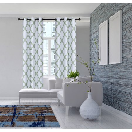 2-Piece 7LO Sage Green Geometric Blackout Lined Grommet Window Curtain Set, Two (2) Printed Thermal Panels 37