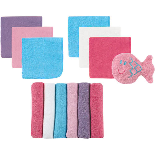 Luvable Friends Baby Boy and Girl Washcloths, 12-Pack with Bath Toy - Pink