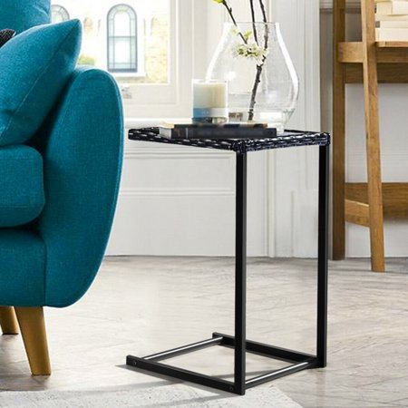 Costway Brown Coffee Tray Side Sofa End Table Rattan PE Square Glass Glass Rattan End Table
