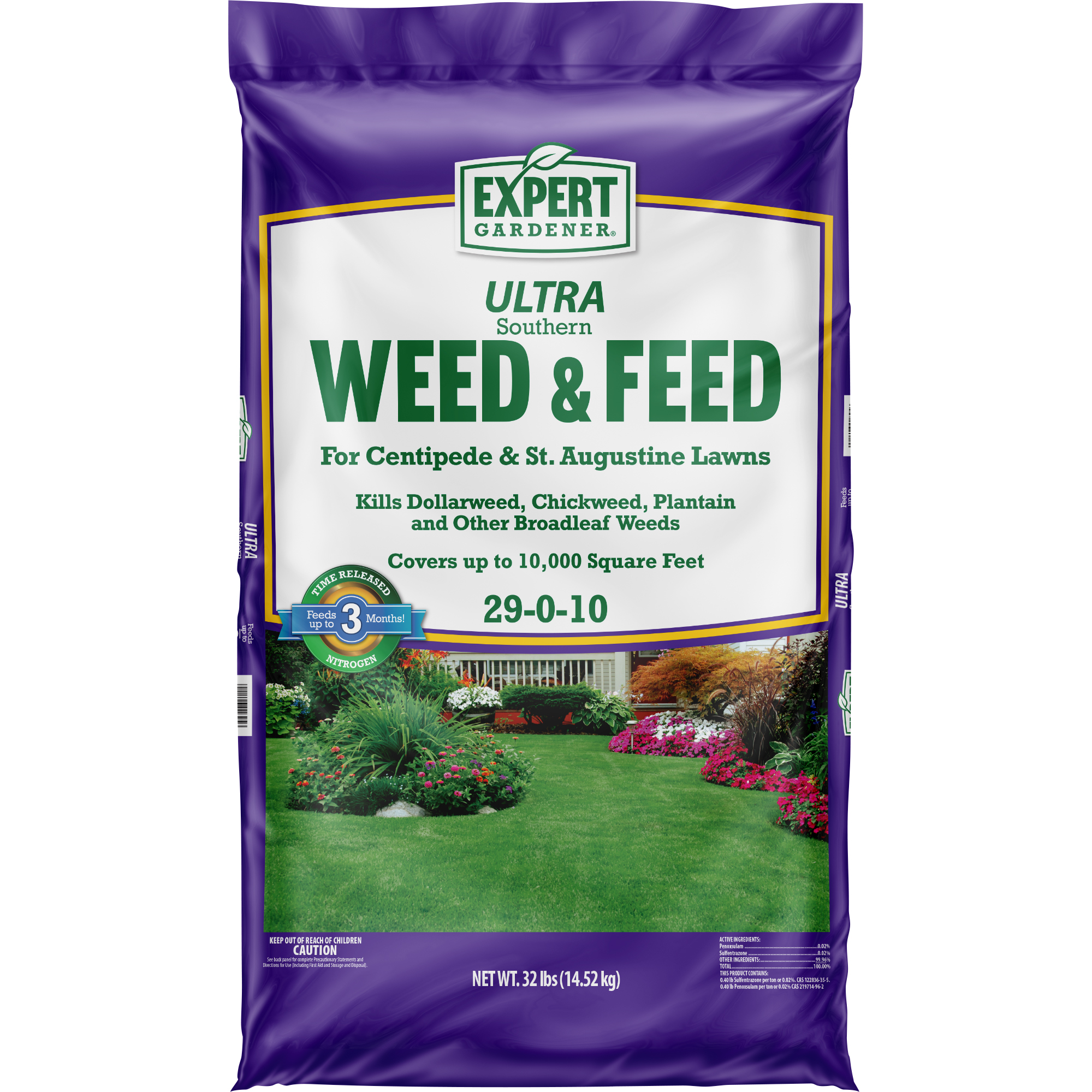 Expert Gardener ULTRA Southern Weed & Feed Lawn Fertilizer for Centipede & St. Augustine Lawns 29-0-10, 32 Pounds, Covers up to 10,000 Square Feet