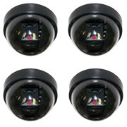 4x Masione Dome Black Blinking Red LED Indoor/Outdoor Security Fake Dummy Camera