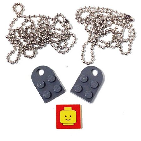 "Lego Valentine Heart Necklace/Keychain Bundle Kit (2) DBGray Modified 3 x 2 Plates with Hole (1) Decorative Tile (2) 24"" Nickel Plated Ball Chains"