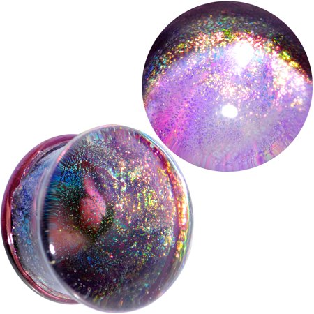 Body Candy Unisex 2Pc Purple Dichroic Glass Mystic Galaxy Double Flare Plug Ear Plug Gauges Set of 2 3/4