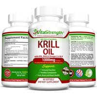 VitaStrength Krill Oil Complete Formula with EPA, DHA, Omega-3, Omega-6 and Omega-9 - 1000 milligrams - Joint, Brain and Heart Health - Healthier Complexion - 60 Softgels