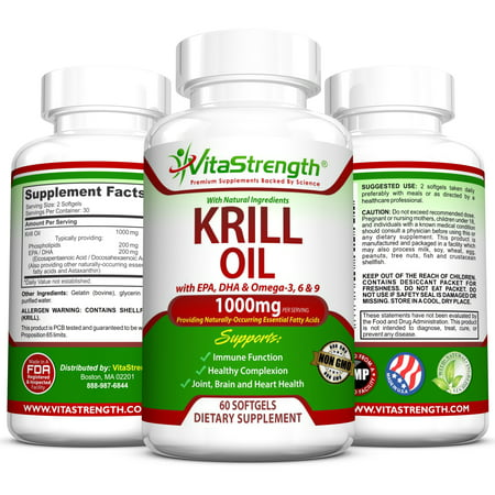 VitaStrength Krill Oil Complete Formula with EPA, DHA, Omega-3, Omega-6 and Omega-9 - 1000 milligrams - Joint, Brain and Heart Health - Healthier Complexion - 60 Softgels ()
