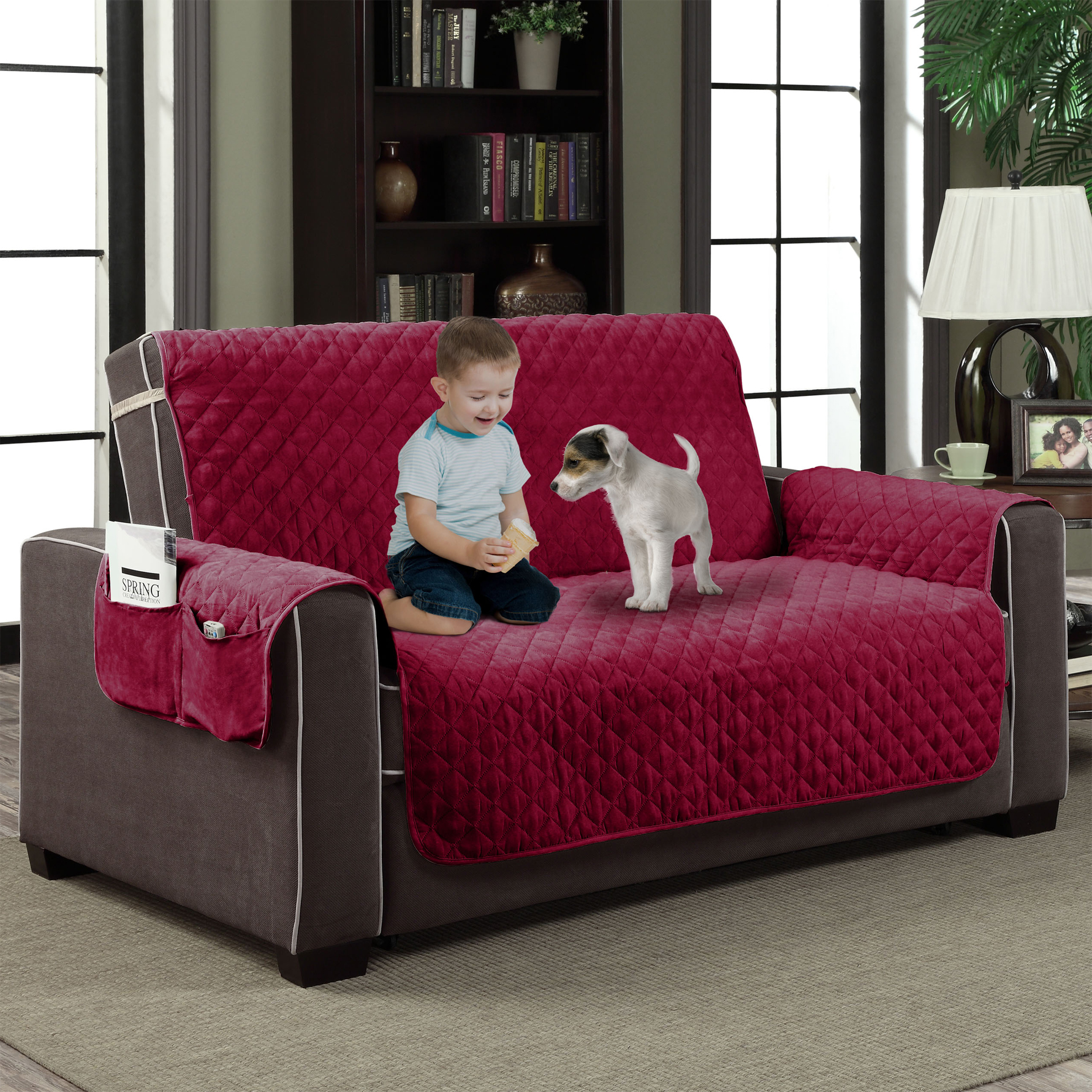 Quilted Microfiber Pet Dog Cat Couch Slipcover Furniture Protector Diamond