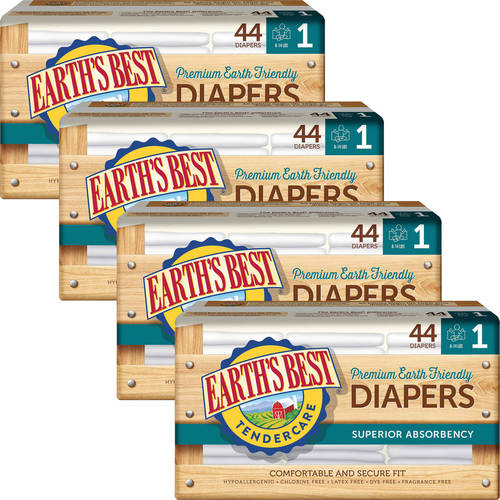 Earth's Best - TenderCare Chlorine-Free Diapers, Size 1, 44 Count (Pack of 4)