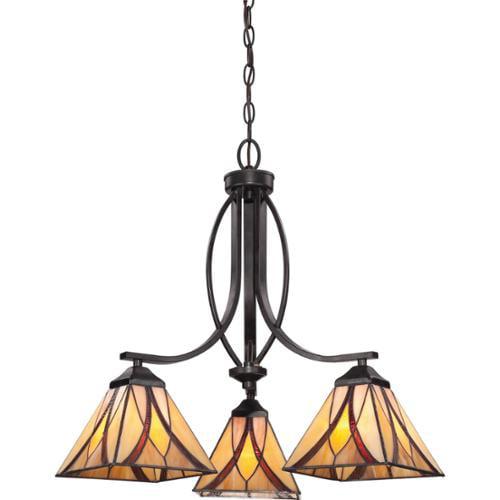 Quoizel Asheville 3-light Valiant Bronze and Art Glass Dinette Chandelier by Quoizel