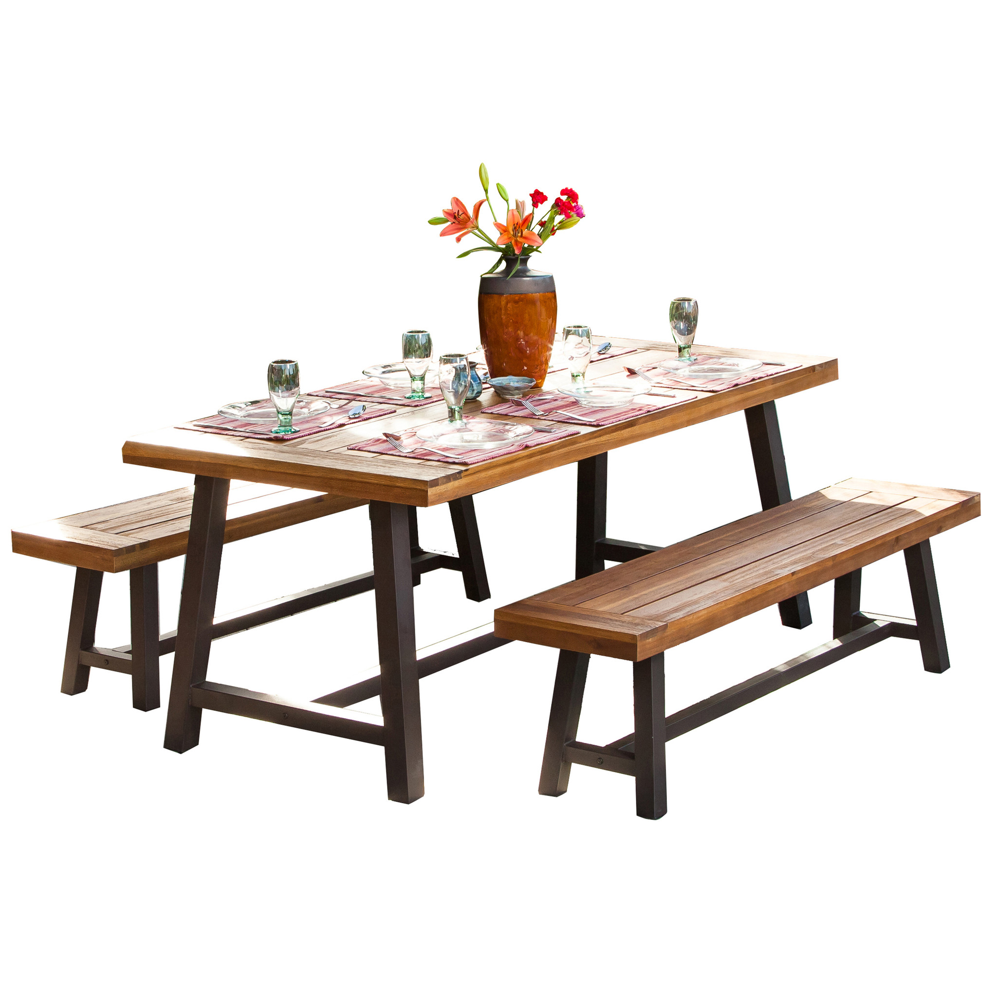 Noble House Diego Rustic Metal 3 - piece Outdoor Dining Set