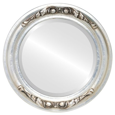 The Oval and Round Mirror Store Florence Framed Round Mirror in Silver Leaf with Brown Antique - Silver/Brown - Florence Antique Mall