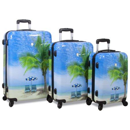 World Traveler  Beach Collection Palm Tree 3-Piece Hardside Spinner Luggage Set