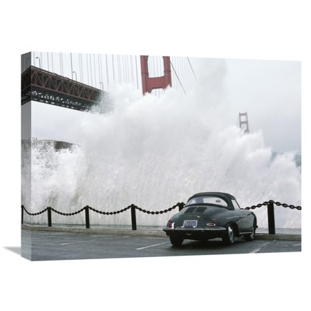 Global Gallery Jim Sugar,'Waves crashing below Golden Gate Bridge, San Francisco' Stretched Canvas Artwork