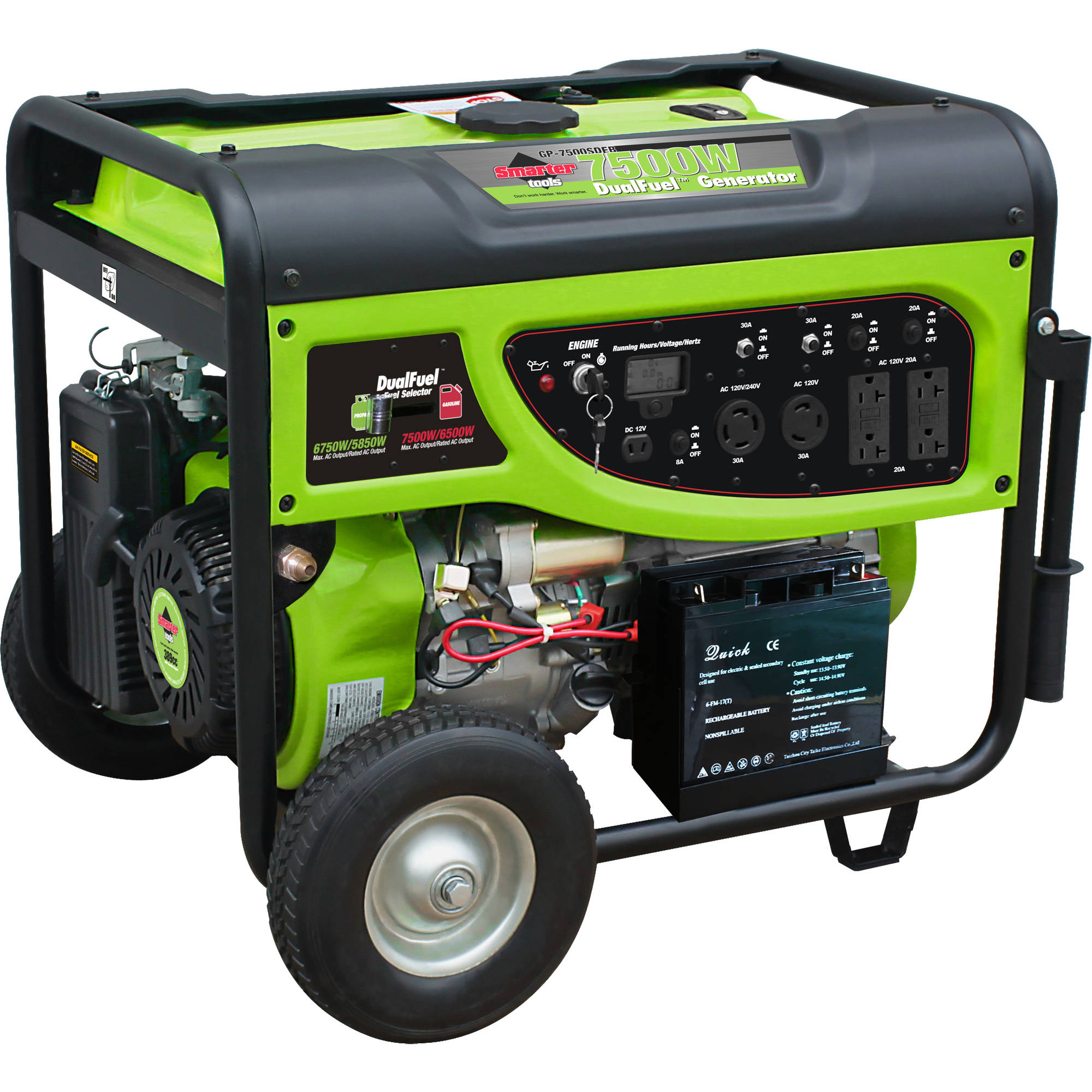 Click here to buy Smarter Tools 7500W Propane (LPG) and Gasoline Generator with Electric Start and Battery.