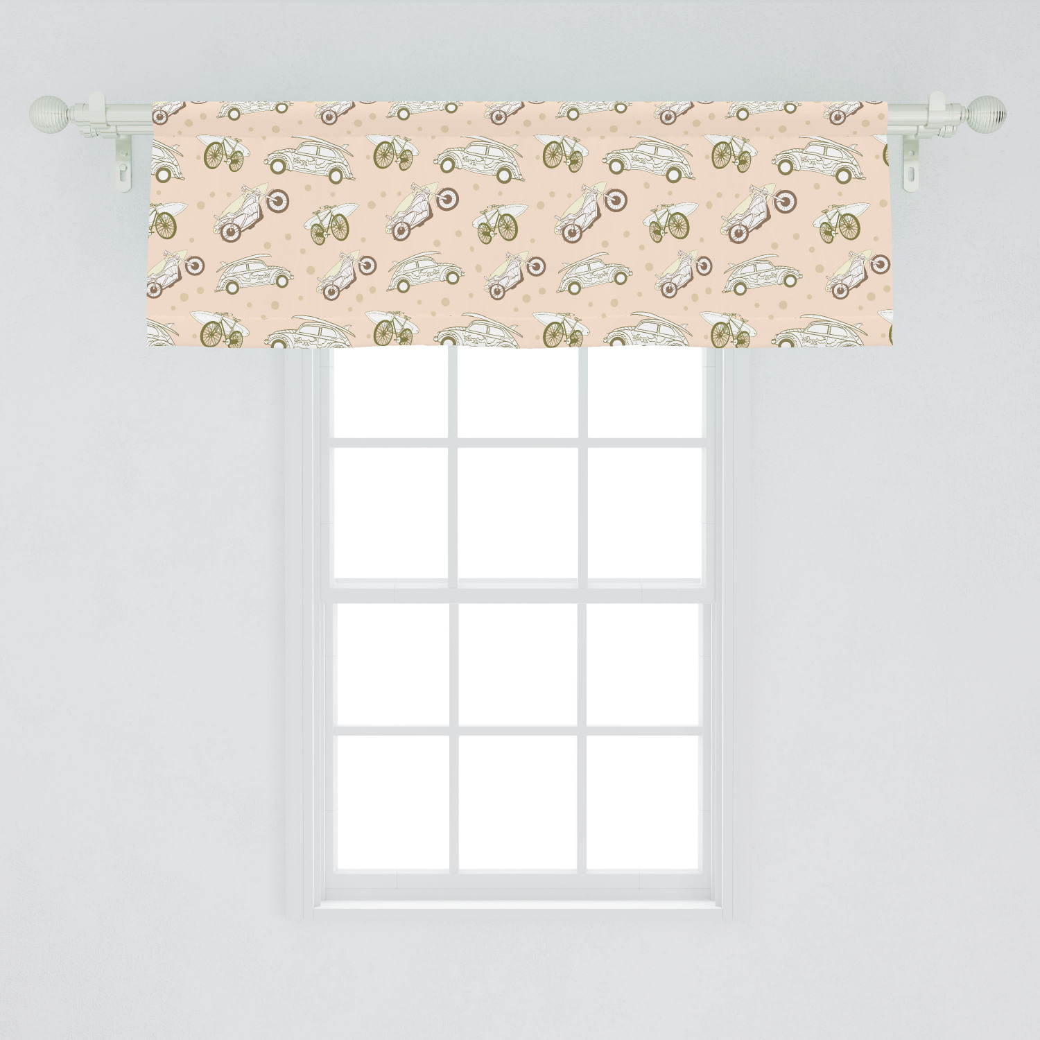 Surfboard Window Valance Surfboards Transported On Vehicles Cars Bikes Motorcycles California Curtain Valance For Kitchen Bedroom Decor With Rod Pocket By Ambesonne Walmart Com Walmart Com