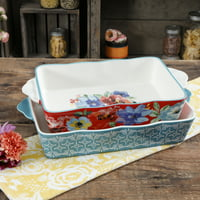 The Pioneer Woman 2-Piece Rectangular Ceramic Bakers, Multiple Patterns