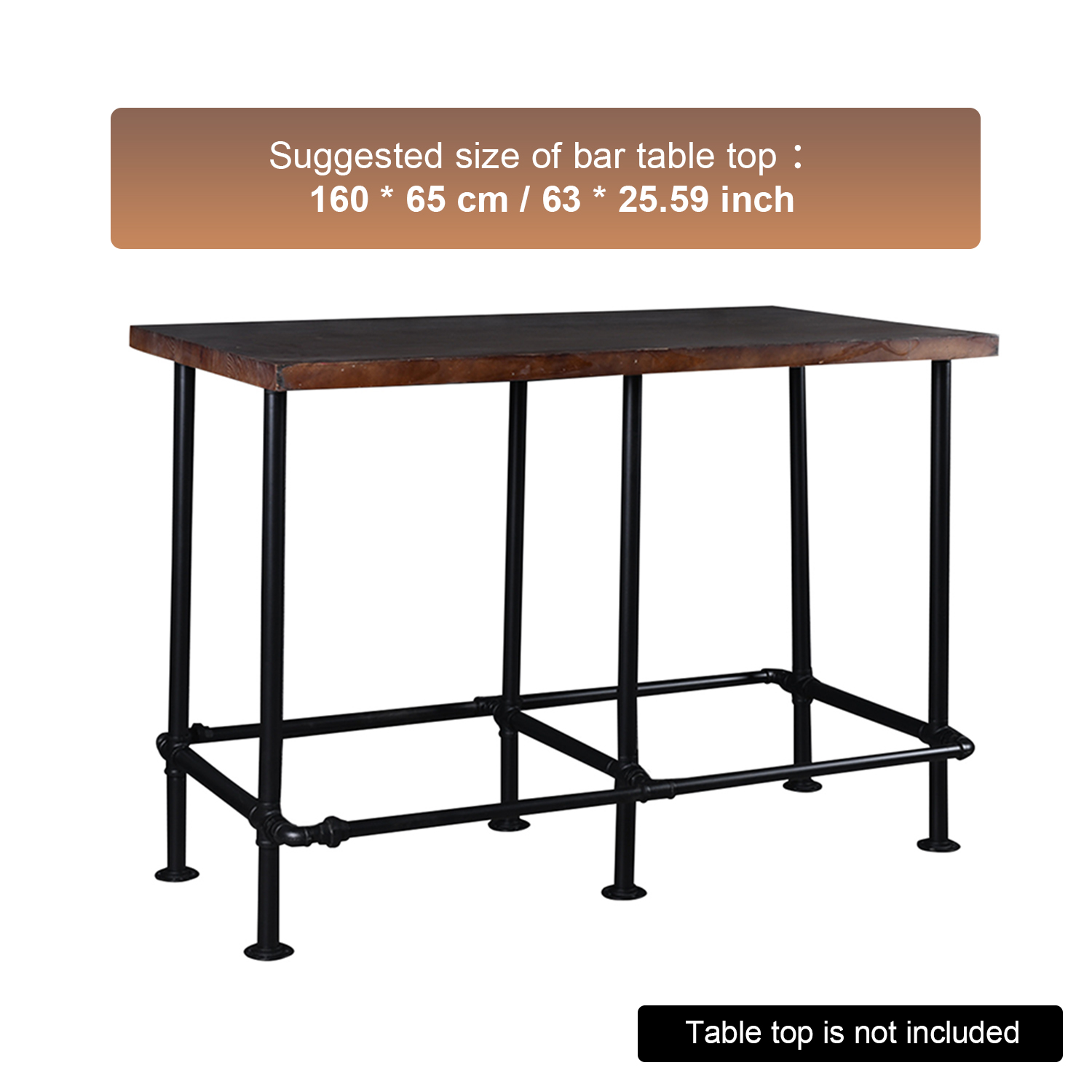 Picture of: Heavy Duty Industrial Retro Kit For Bar Table Rustic Kitchen Metal Frame Sturdy Vintage Style Table Base For Home Office Furniture Table Top Is Not Included Walmart Com Walmart Com
