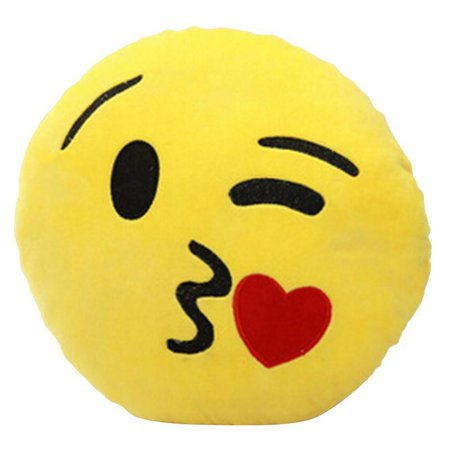 32cm Kiss Face Emoji Yellow Round Cushion Smiley Emoticon Stuffed Plush Soft Pillow - Smiley Face Cushion
