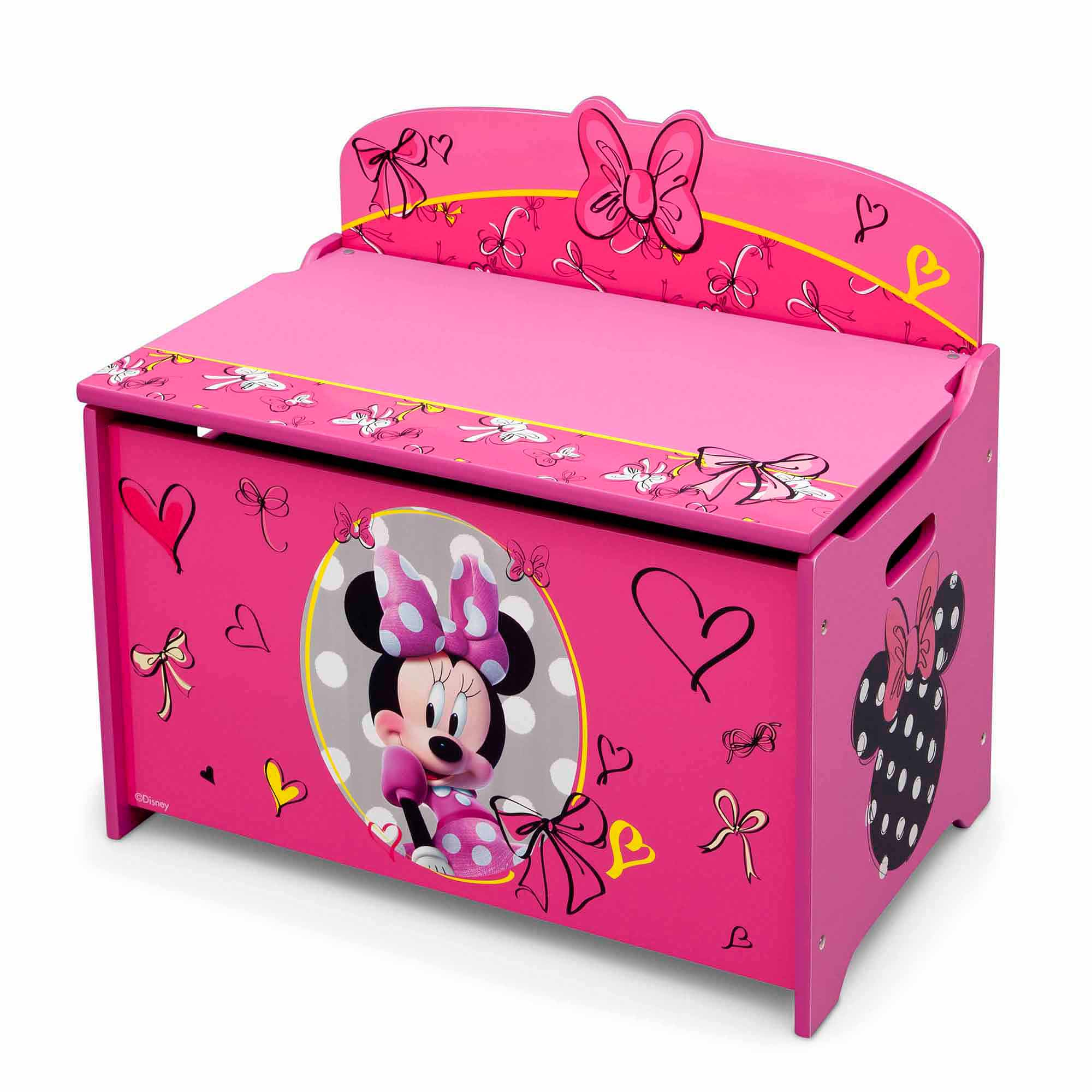 disney minnie mouse deluxe wood toy boxdelta children