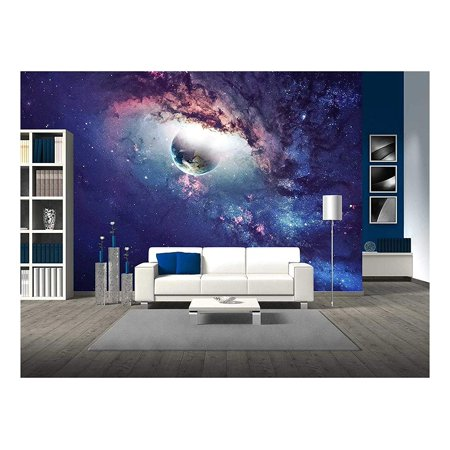 wall26 - Universe Scene with Planets, Stars and Galaxies in Outer Space - Removable Wall Mural | Self-adhesive Large Wallpaper - 66x96 inches