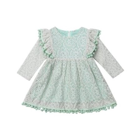 Boutique Toddler Baby Kids Girl Princess Party Autumn Casual Dress Lace Sundress Clothes