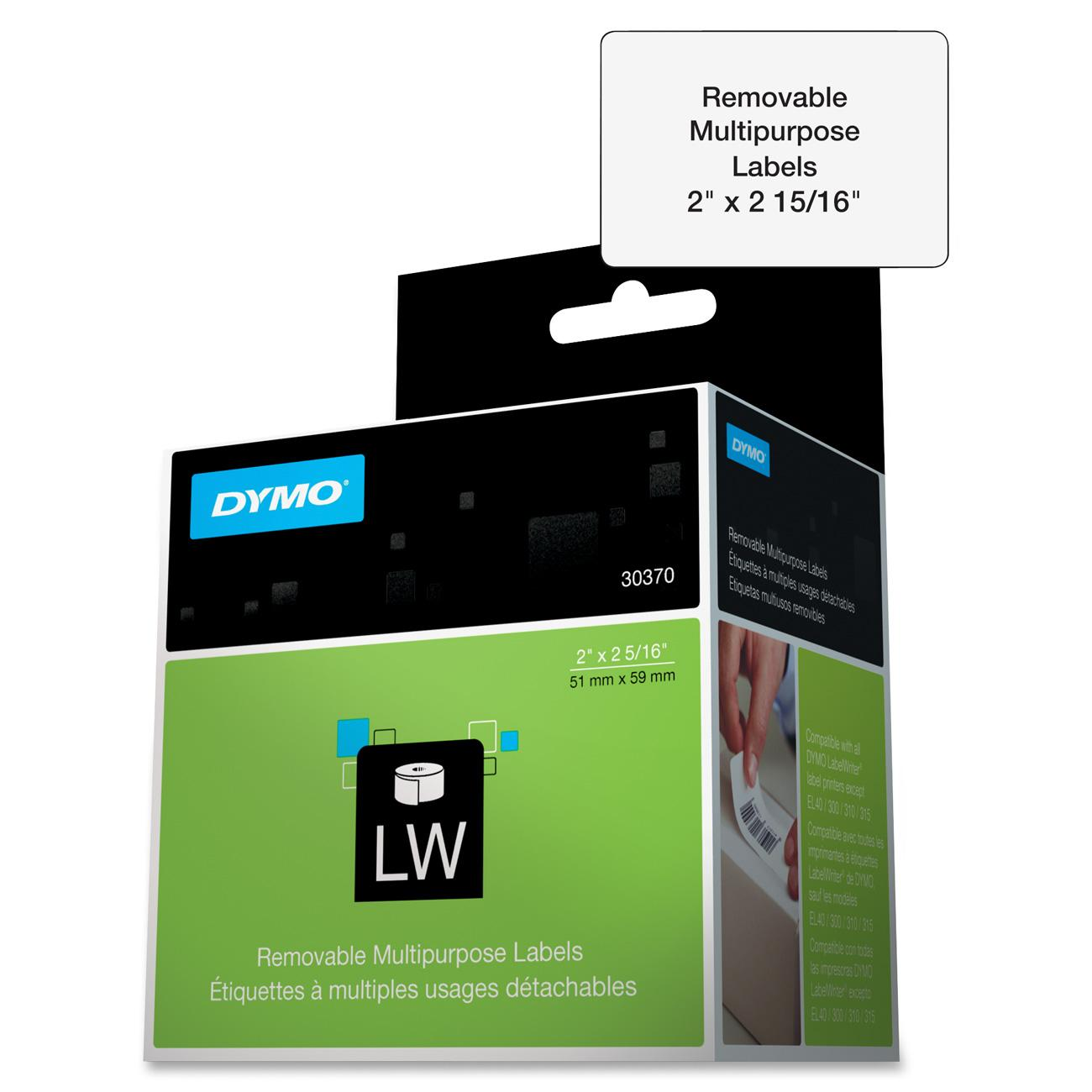 Dymo Removable Multipurpose LabelWriter Labels, White, 250 / Roll (Quantity)