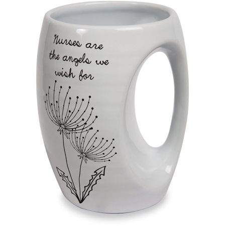 Hand Painted Ceramic Mug - Pavilion - Nurses are the Angels We Wish for White Ceramic Hand Warmer Mug