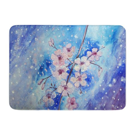 KDAGR Hand Painted Beautiful Cherry Blossom Branch with Blue Sky in Doormat Floor Rug Bath Mat 30x18 (Hand Painted Cherry)