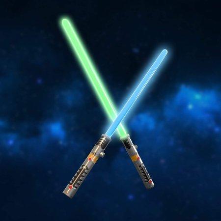 LED Light Saber Laser Sword FX Lightsaber Fighters Galaxy Warriors, 2 in 1 with Light and Sound Effect F-123 - Light Saber Swords