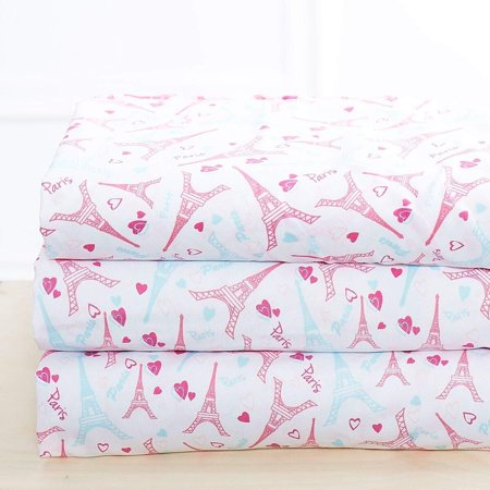 Elegant Home Multicolors White Pink Paris Eiffel Tower Bonjour Design with Hearts 4 Piece Printed Full Size Sheet Set with Pillowcases Flat Fitted Sheet for Girls/Kids/ Teens # Juvy Pink (Full Size) Bed Head Eiffel Tower
