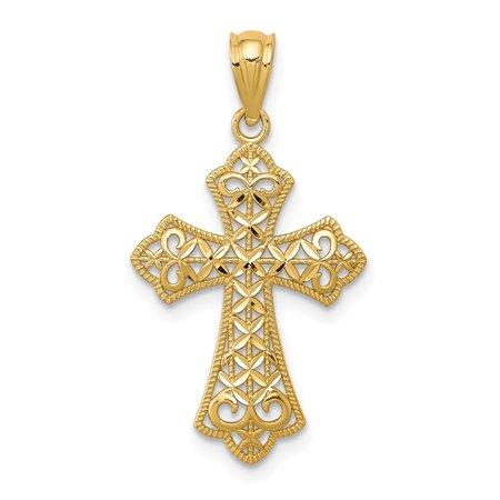 Roy Rose Jewelry 14K Yellow Gold Polished Filigree Cross Pendant
